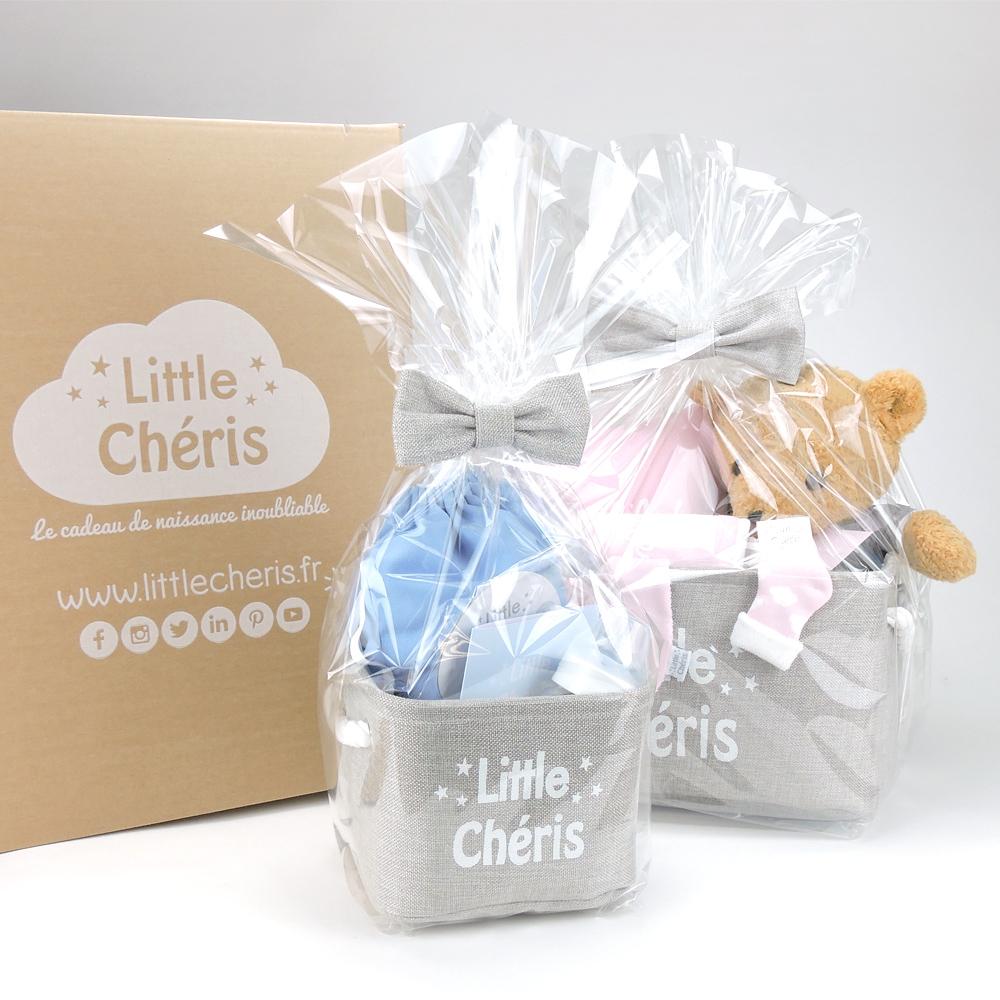 Panier-naissance-Little-Chéris-bleu-rose-carton