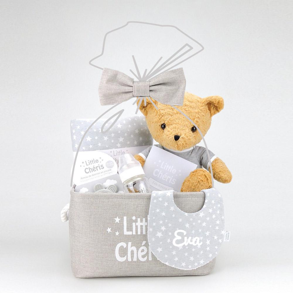 Panier-naissance-Little-Chéris-gris-étoiles